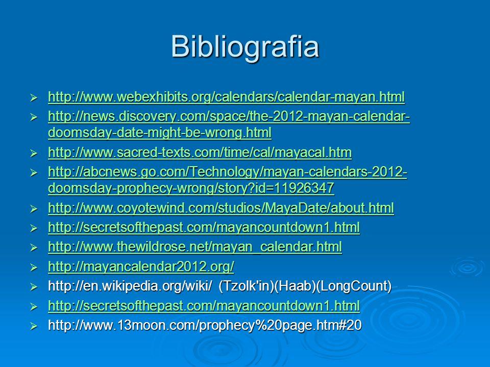 Bibliografia http://www.webexhibits.org/calendars/calendar-mayan.html