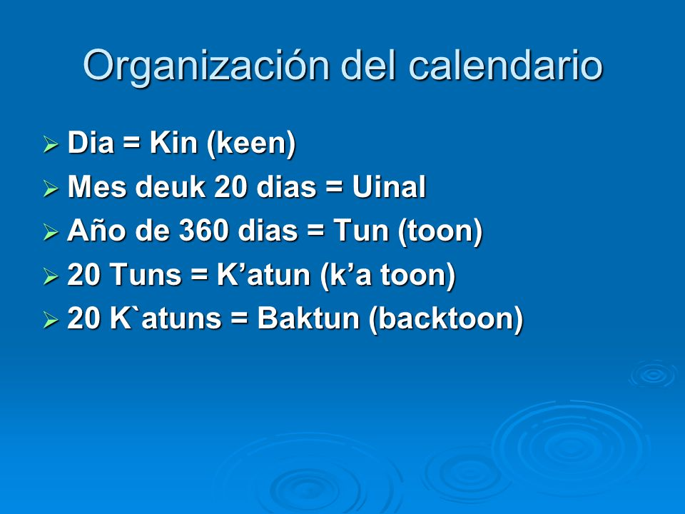 Organización del calendario