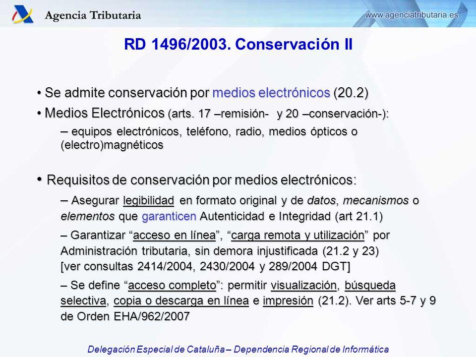 Requisitos de conservación por medios electrónicos: