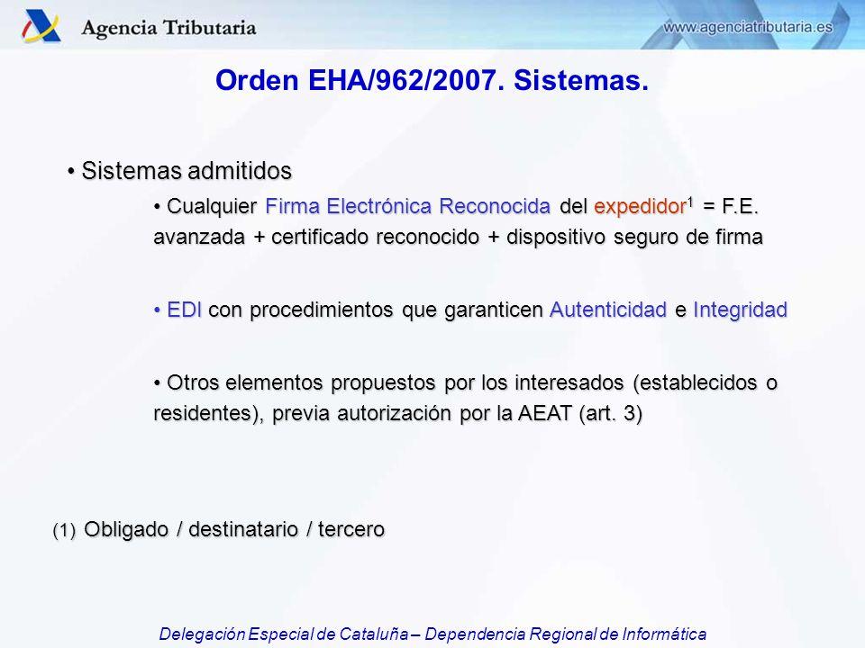 Orden EHA/962/2007. Sistemas. Sistemas admitidos