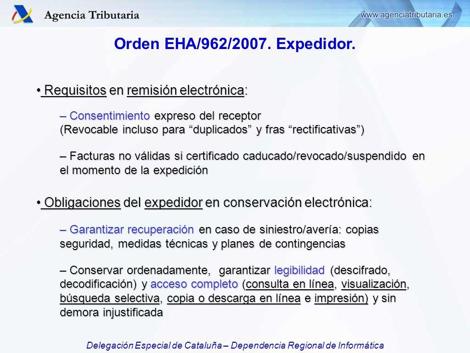 Orden EHA/962/2007. Expedidor. Requisitos en remisión electrónica: