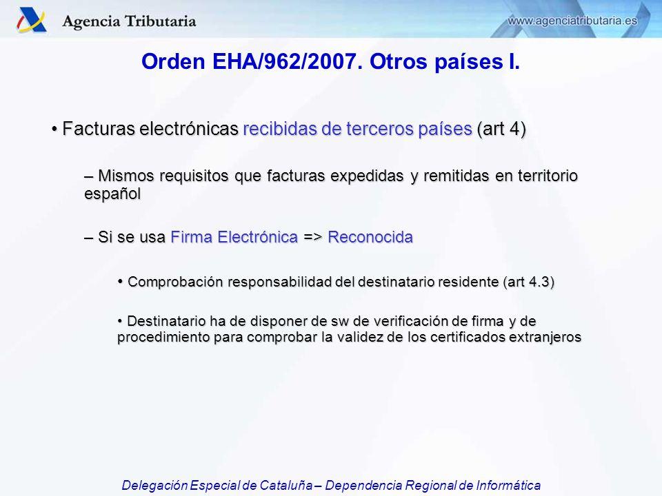 Orden EHA/962/2007. Otros países I.