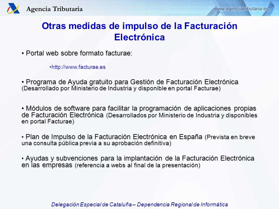 Otras medidas de impulso de la Facturación Electrónica
