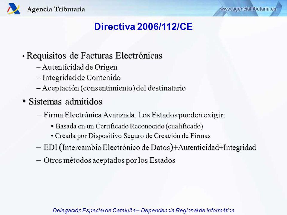 Sistemas admitidos Directiva 2006/112/CE