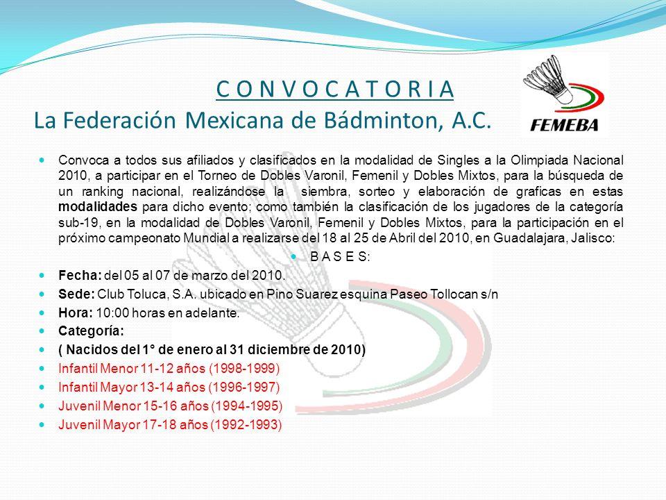 C O N V O C A T O R I A La Federación Mexicana de Bádminton, A.C.