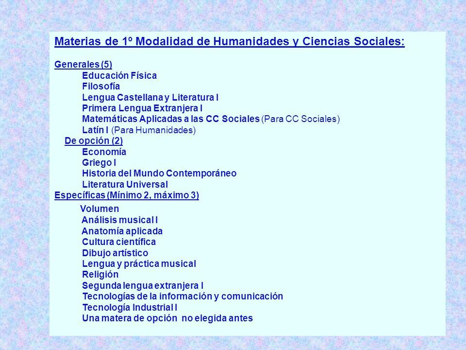 Materias de 1º Modalidad de Humanidades y Ciencias Sociales: