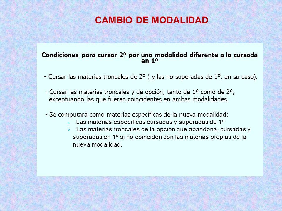 CAMBIO DE MODALIDAD Condiciones para cursar 2º por una modalidad diferente a la cursada en 1º.