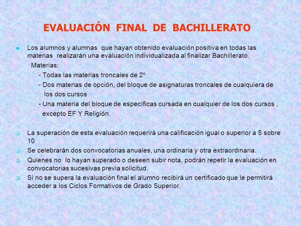 EVALUACIÓN FINAL DE BACHILLERATO