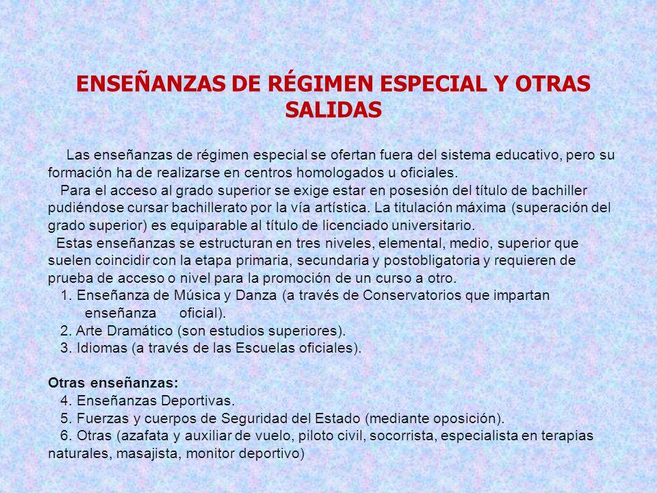 ENSEÑANZAS DE RÉGIMEN ESPECIAL Y OTRAS SALIDAS