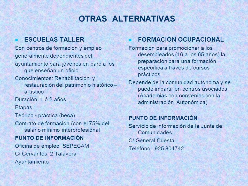 OTRAS ALTERNATIVAS ESCUELAS TALLER FORMACIÓN OCUPACIONAL
