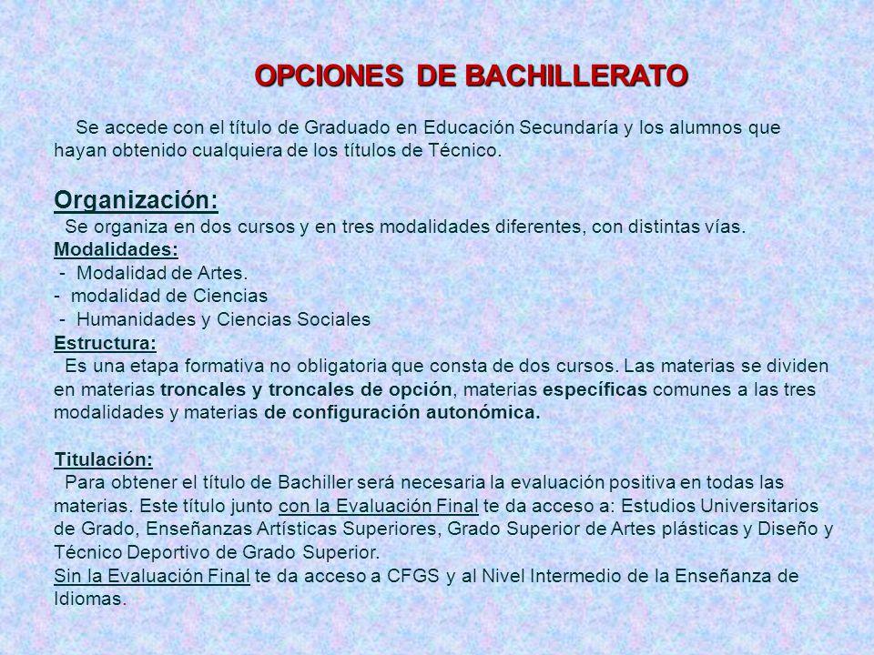Organización: OPCIONES DE BACHILLERATO