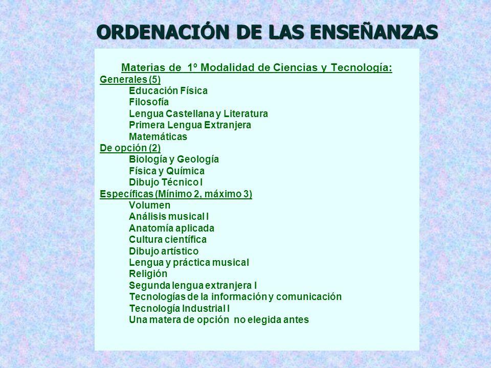 ORDENACIÓN DE LAS ENSEÑANZAS