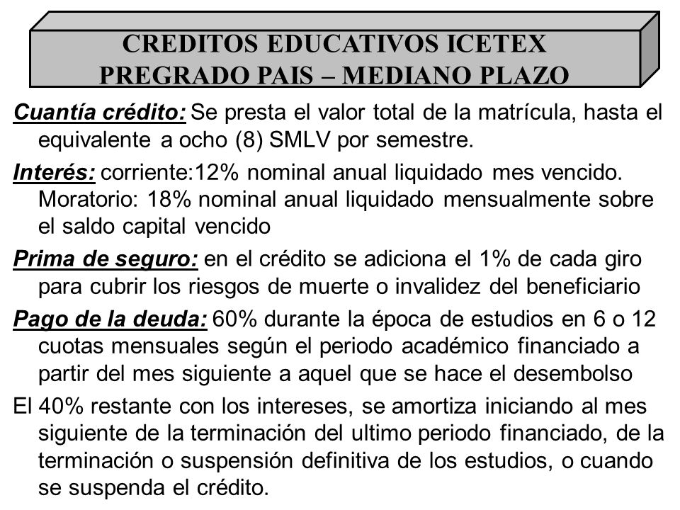 CREDITOS EDUCATIVOS ICETEX PREGRADO PAIS – MEDIANO PLAZO