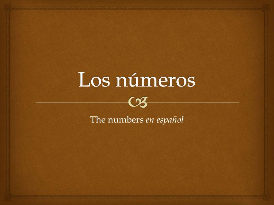 Los números The numbers en español