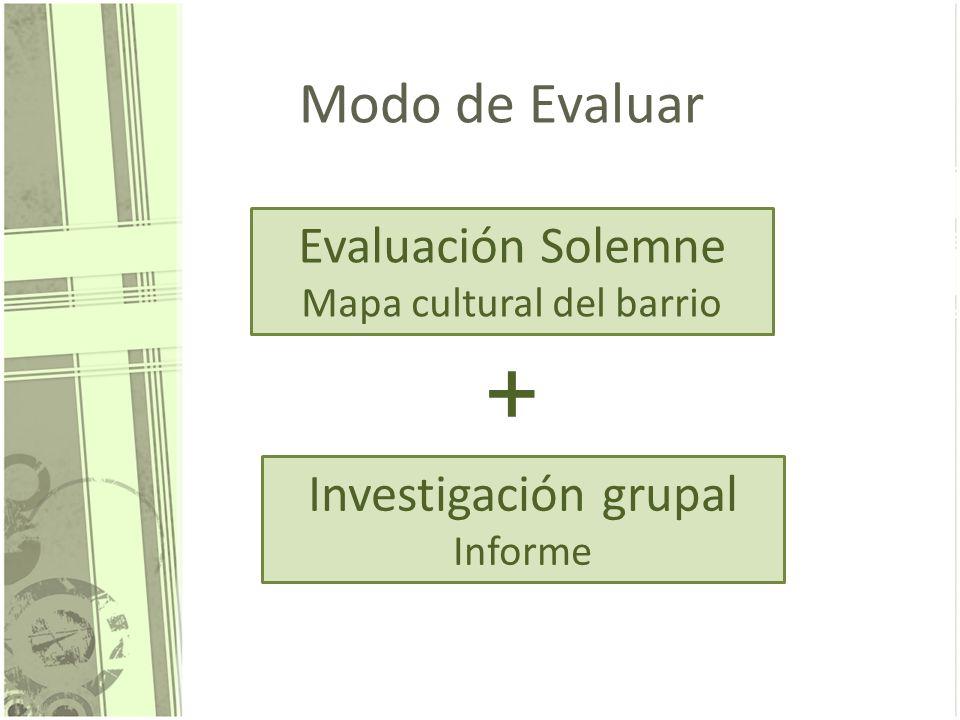 + Modo de Evaluar Evaluación Solemne Investigación grupal Informe