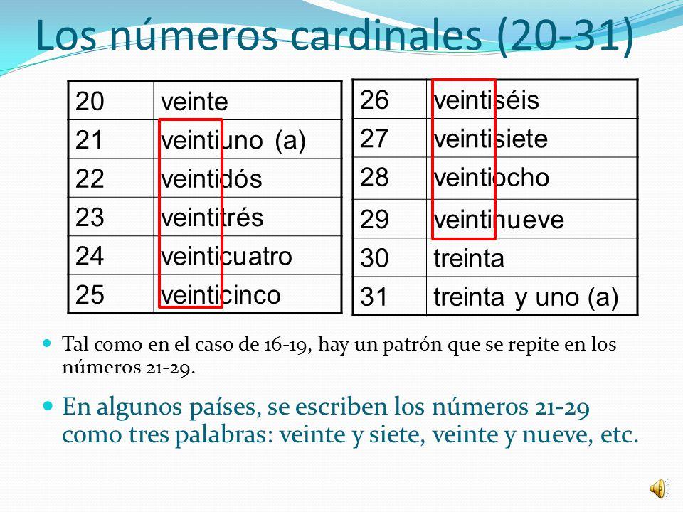 Los números cardinales (20-31)