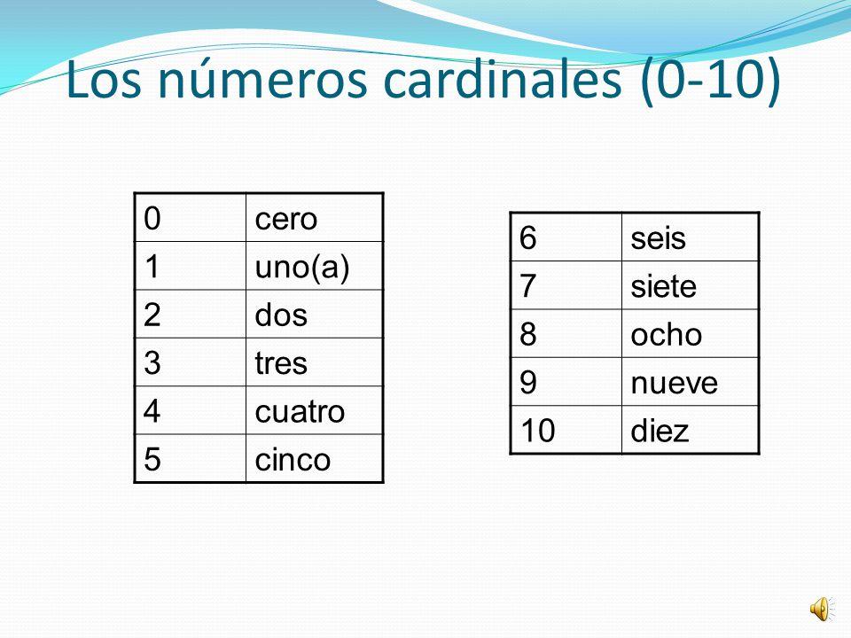 Los números cardinales (0-10)