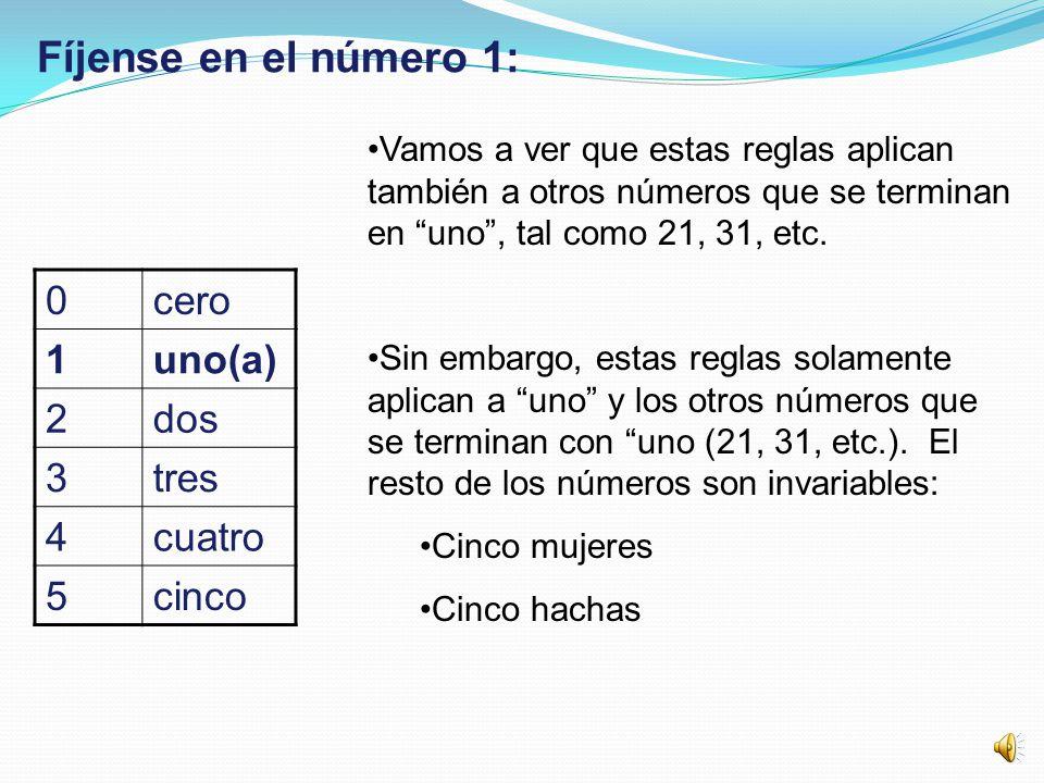 Fíjense en el número 1: cero 1 uno(a) 2 dos 3 tres 4 cuatro 5 cinco