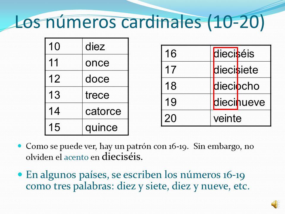 Los números cardinales (10-20)