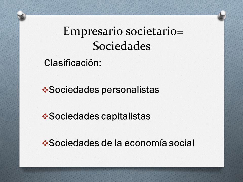 Empresario societario= Sociedades