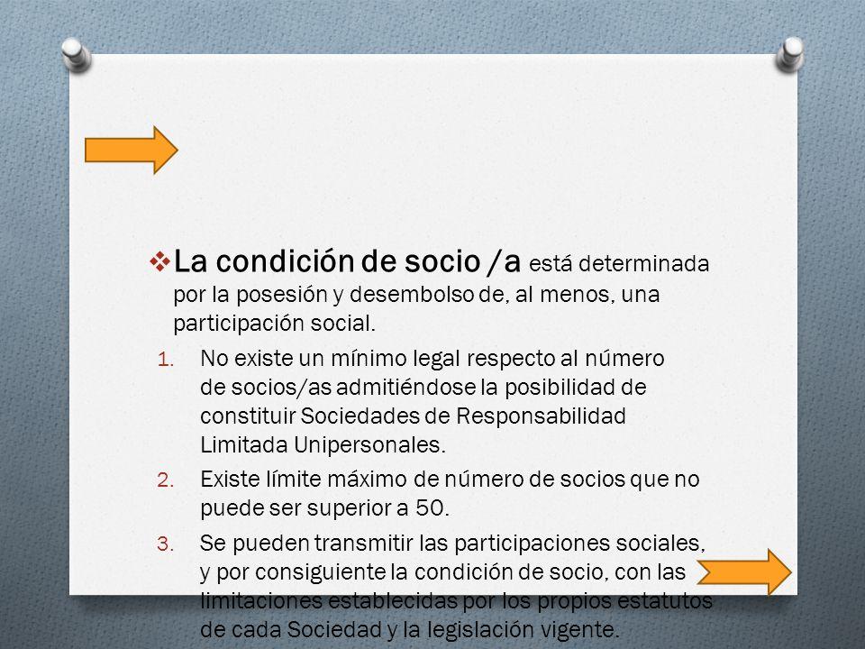 La condición de socio /a está determinada por la posesión y desembolso de, al menos, una participación social.