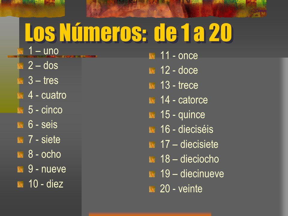 Los Números: de 1 a 20 1 – uno 11 - once 2 – dos 12 - doce 3 – tres