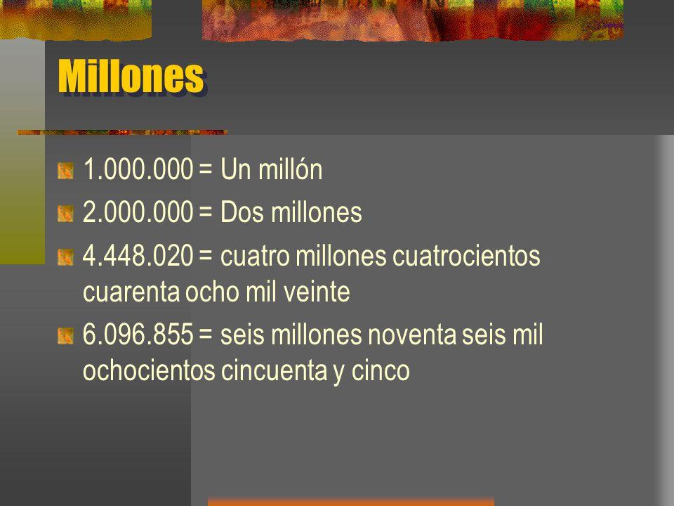 Millones 1.000.000 = Un millón 2.000.000 = Dos millones