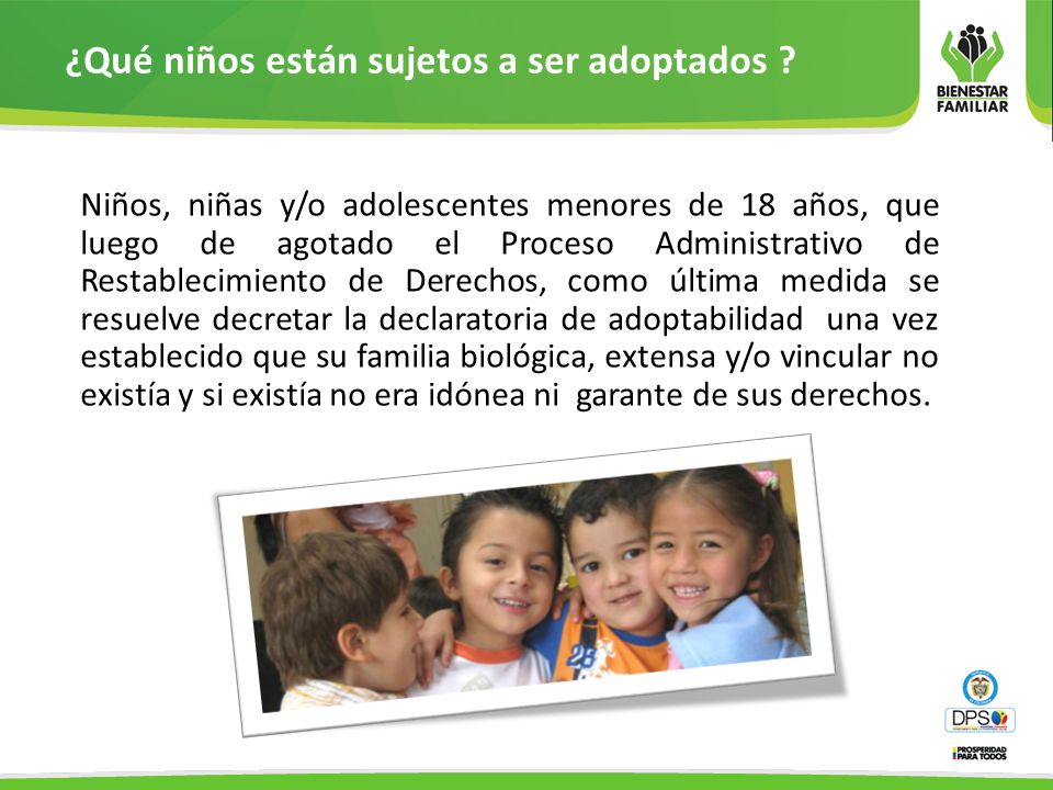 ¿Qué niños están sujetos a ser adoptados