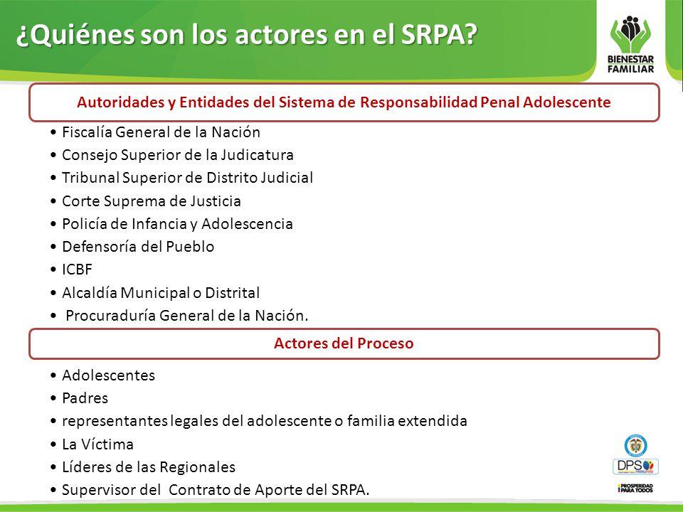 ¿Quiénes son los actores en el SRPA