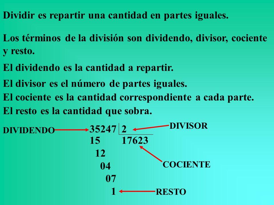 Dividir es repartir una cantidad en partes iguales.