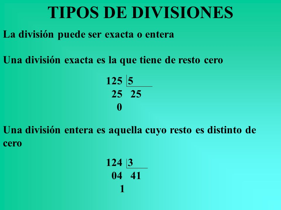 TIPOS DE DIVISIONES La división puede ser exacta o entera