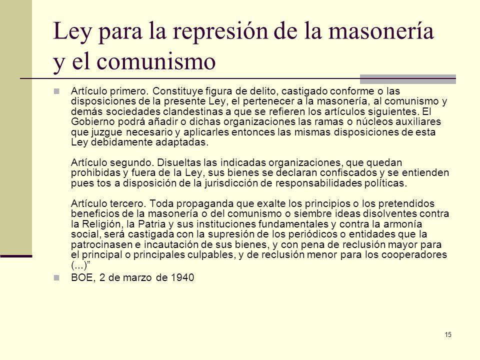 Ley para la represión de la masonería y el comunismo
