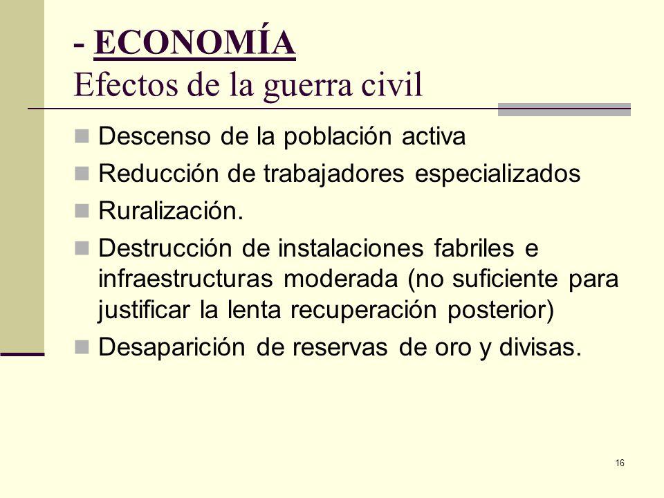 - ECONOMÍA Efectos de la guerra civil
