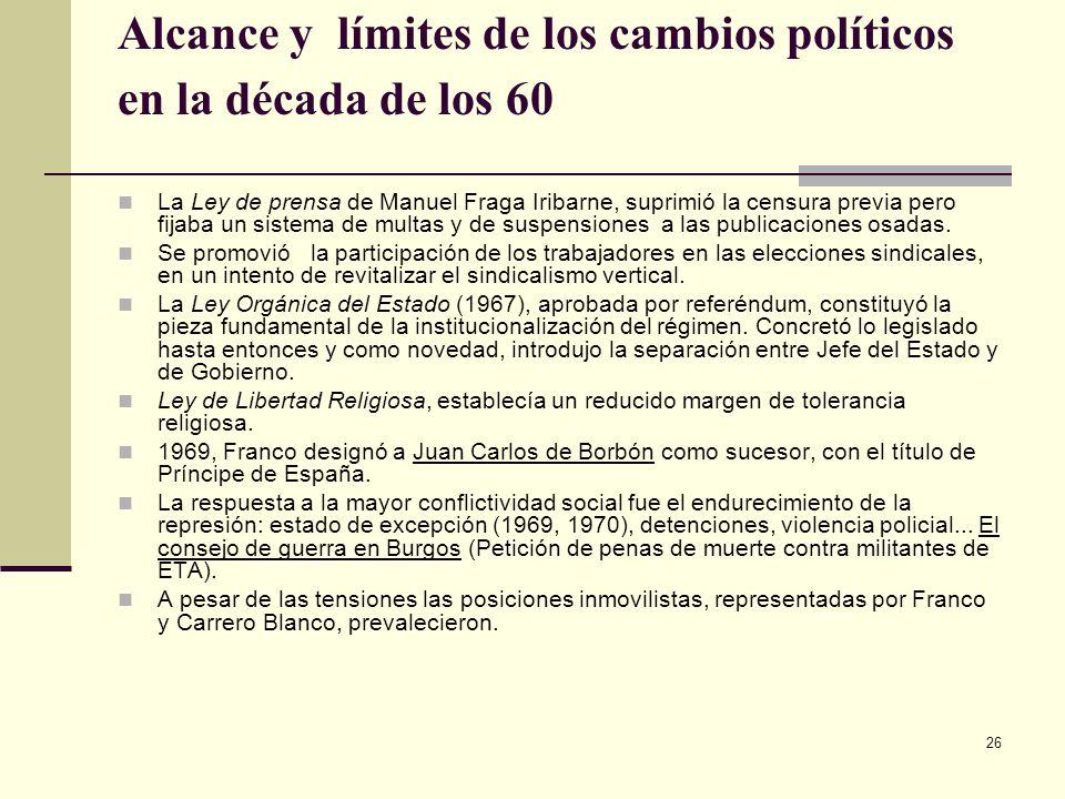Alcance y límites de los cambios políticos en la década de los 60