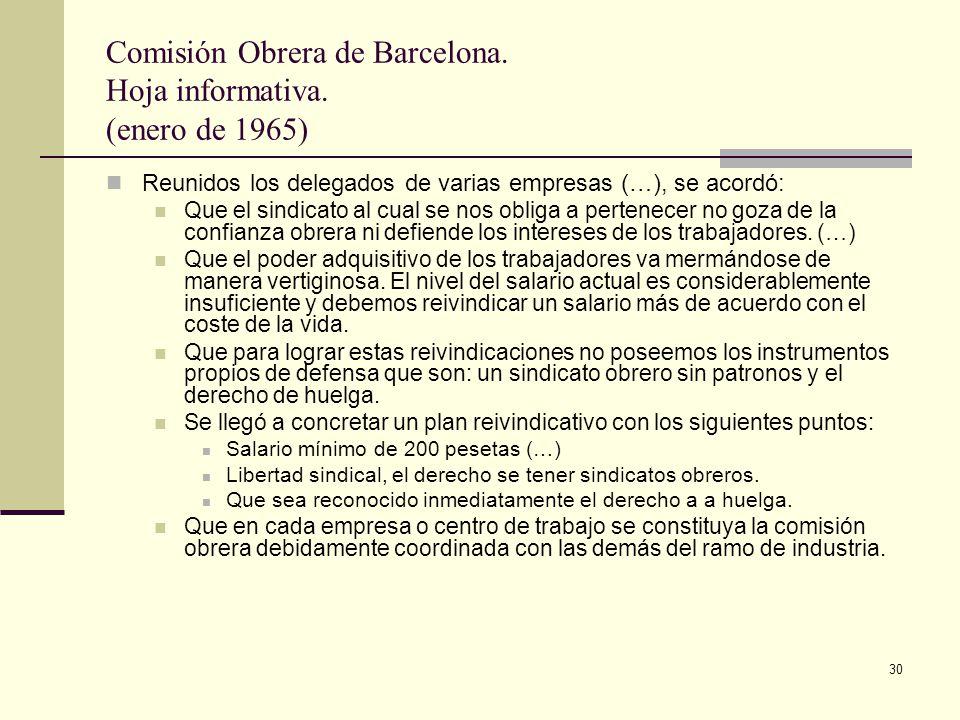 Comisión Obrera de Barcelona. Hoja informativa. (enero de 1965)