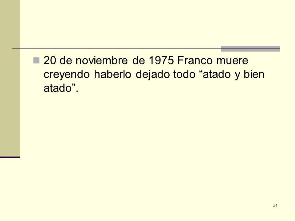 20 de noviembre de 1975 Franco muere creyendo haberlo dejado todo atado y bien atado .