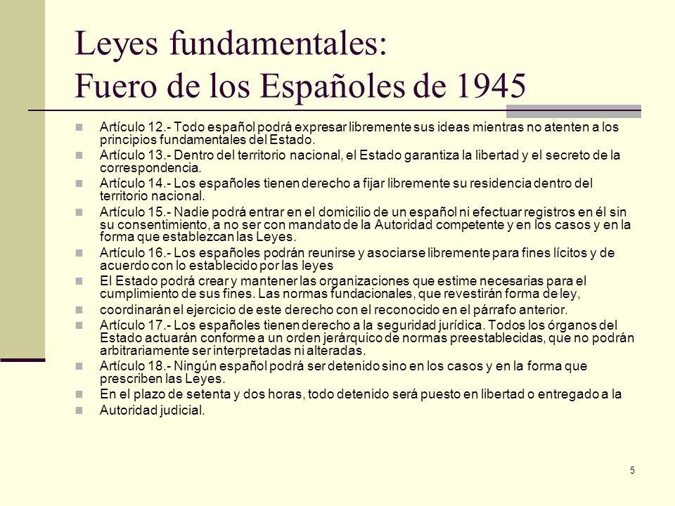 Leyes fundamentales: Fuero de los Españoles de 1945