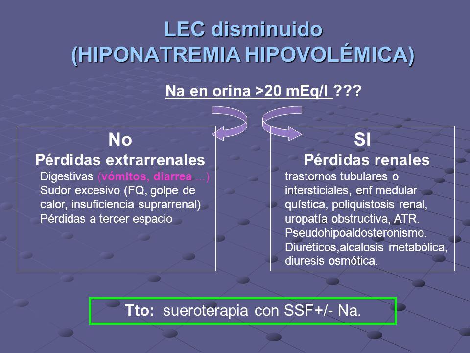 LEC disminuido (HIPONATREMIA HIPOVOLÉMICA)