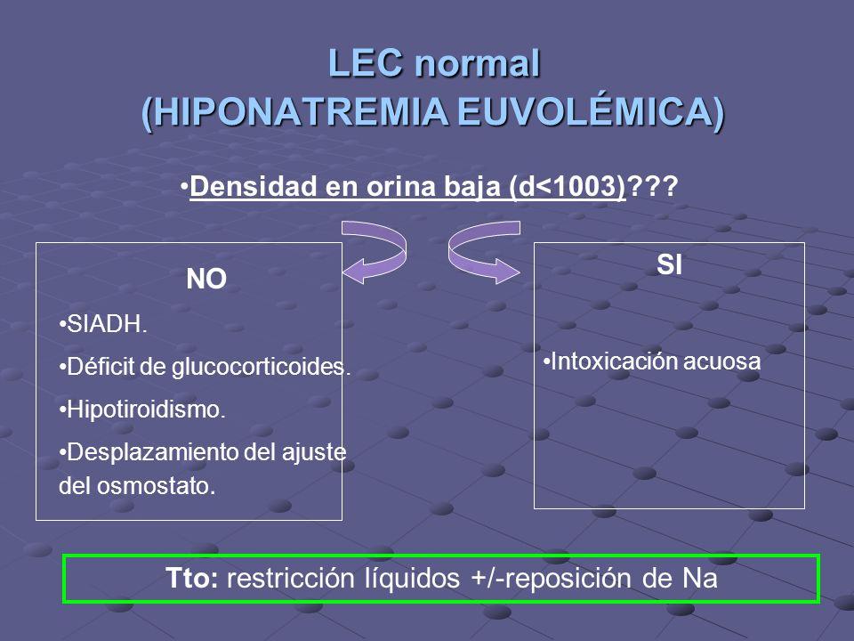 LEC normal (HIPONATREMIA EUVOLÉMICA)