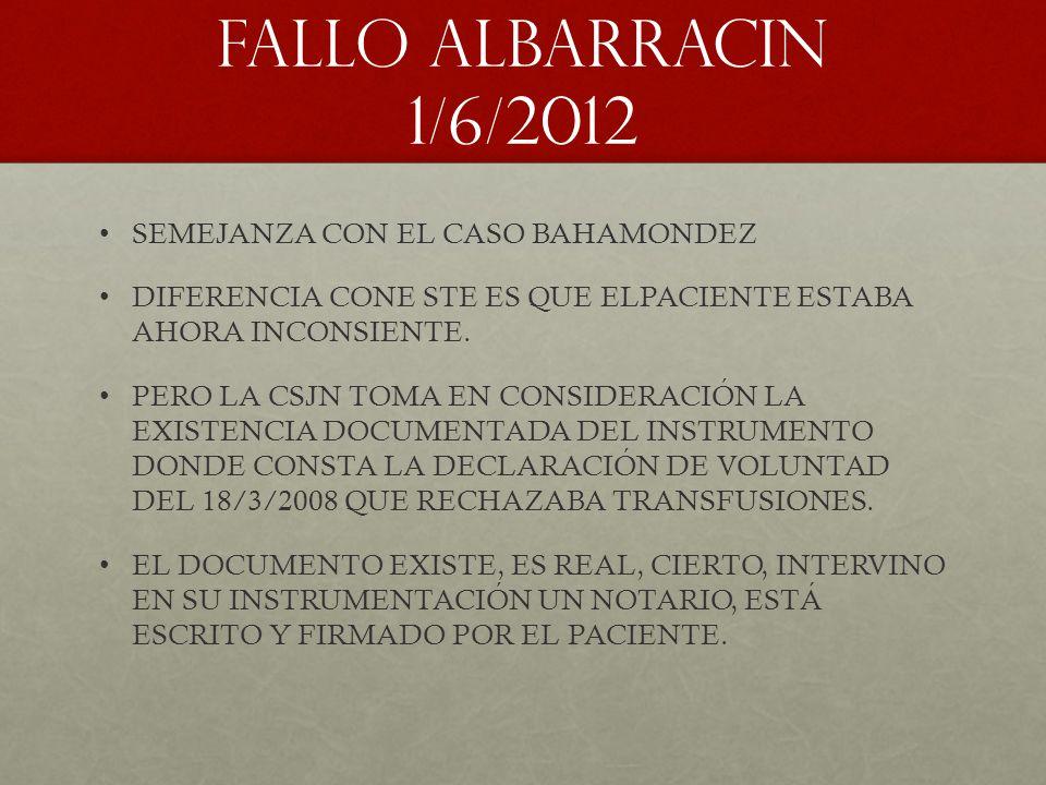 FALLO ALBARRACIN 1/6/2012 SEMEJANZA CON EL CASO BAHAMONDEZ
