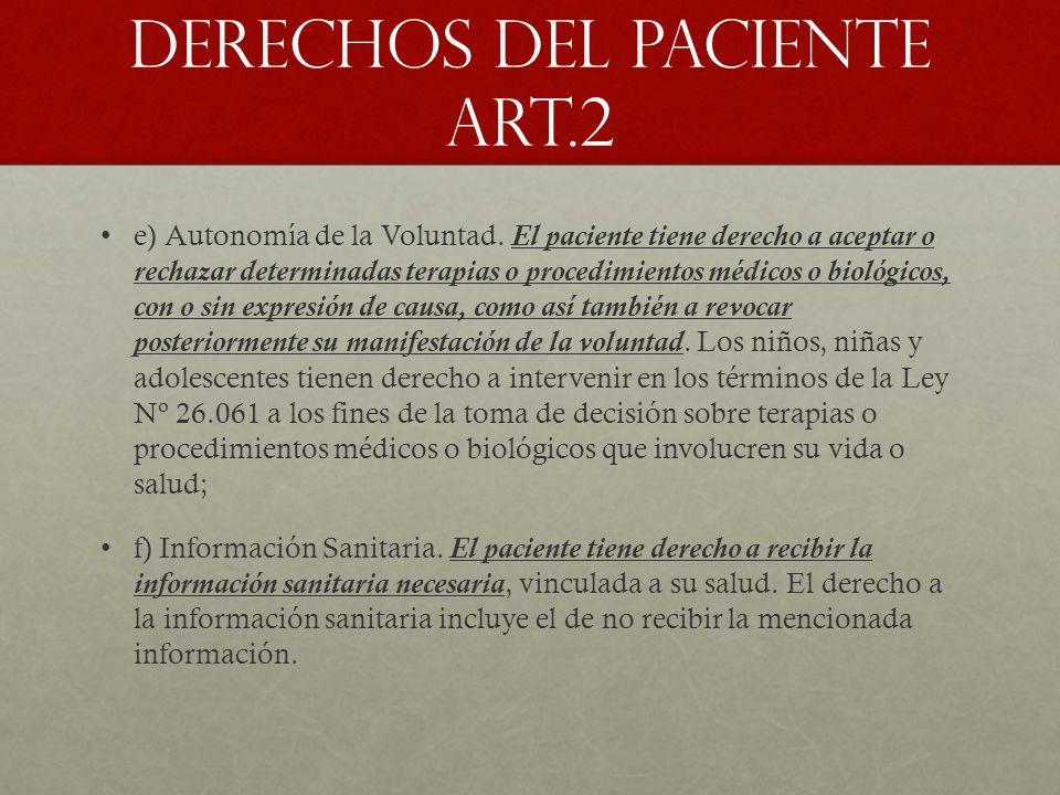DERECHOS DEL PACIENTE Art.2