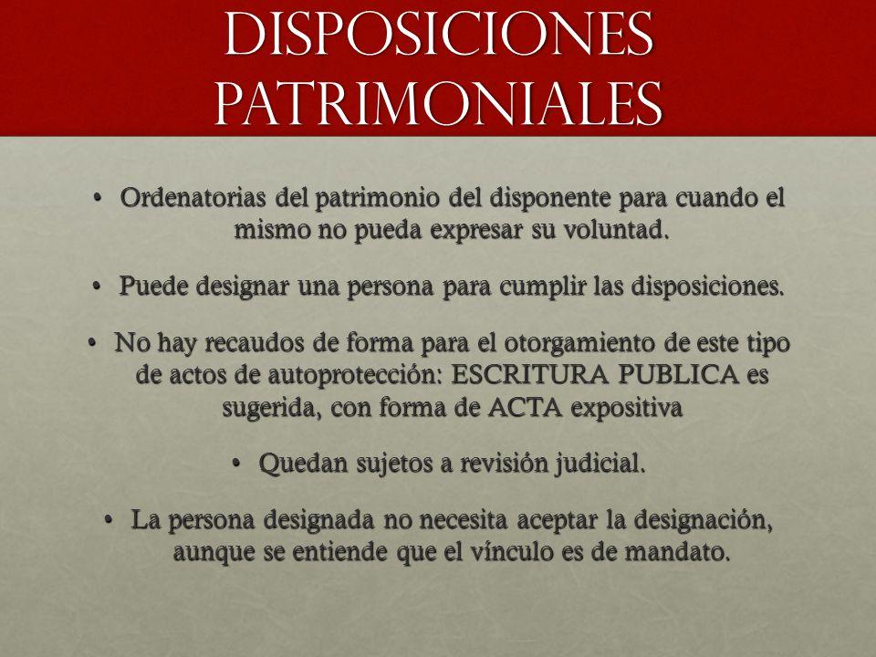 DISPOSICIONES PATRIMONIALES