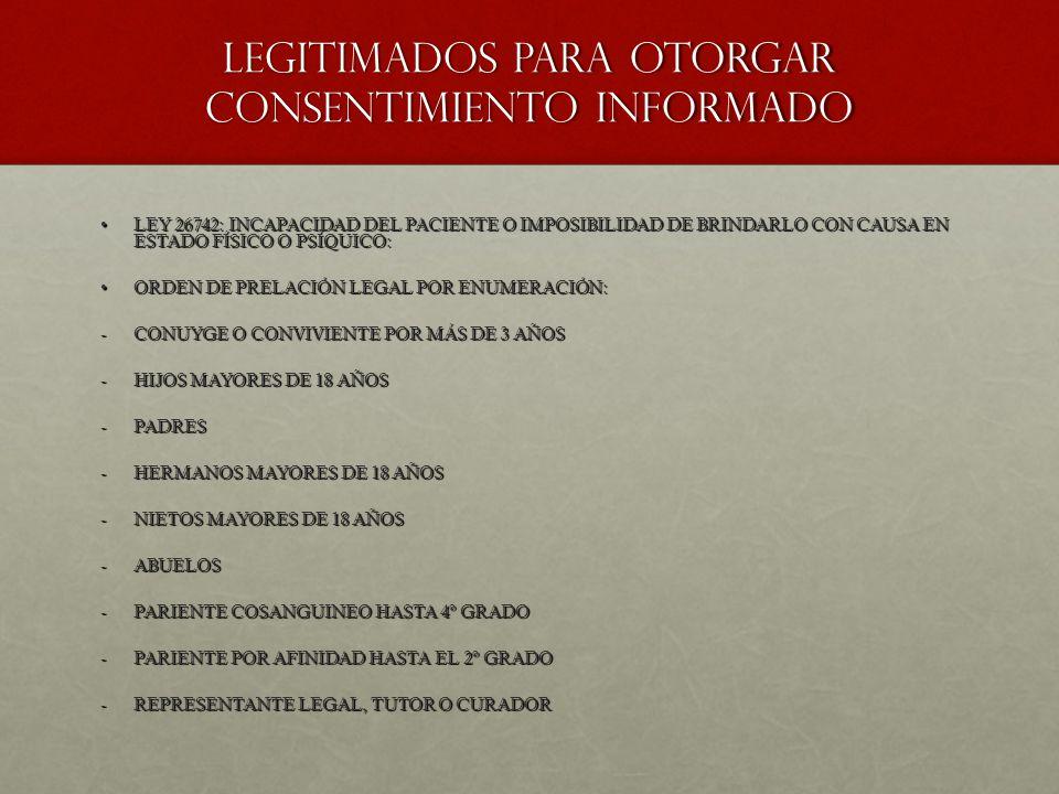 LEGITIMADOS PARA OTORGAR CONSENTIMIENTO INFORMADO
