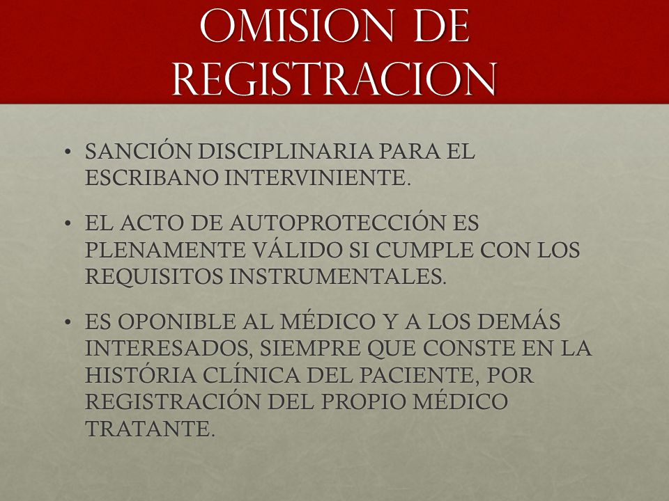 OMISION DE REGISTRACION