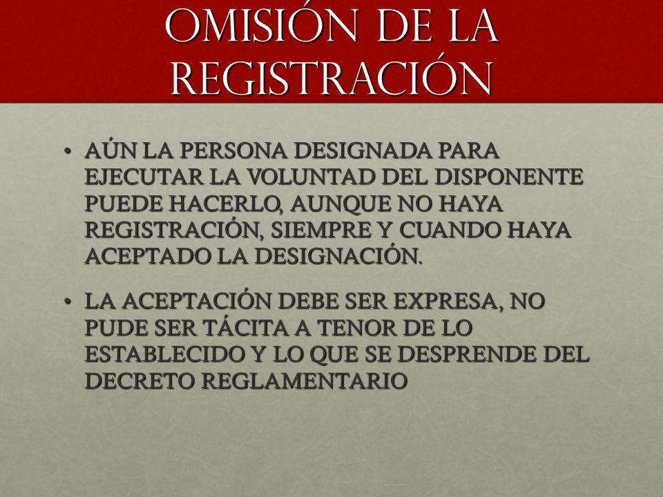 OMISIÓN DE LA REGISTRACIÓN