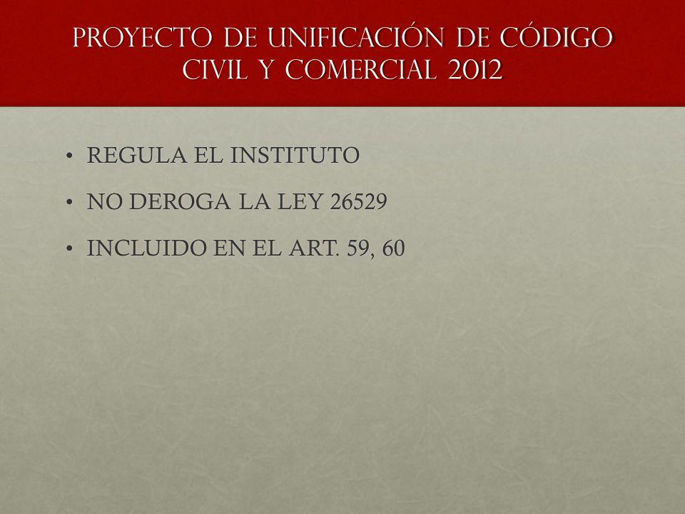 Proyecto de unificación de código civil y comercial 2012