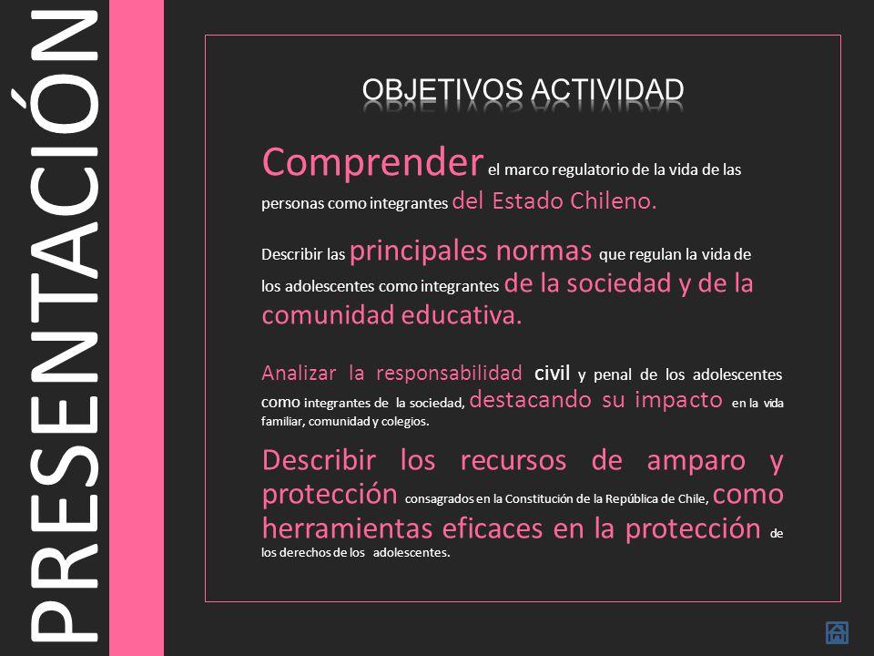 OBJETIVOS ACTIVIDAD Comprender el marco regulatorio de la vida de las personas como integrantes del Estado Chileno.