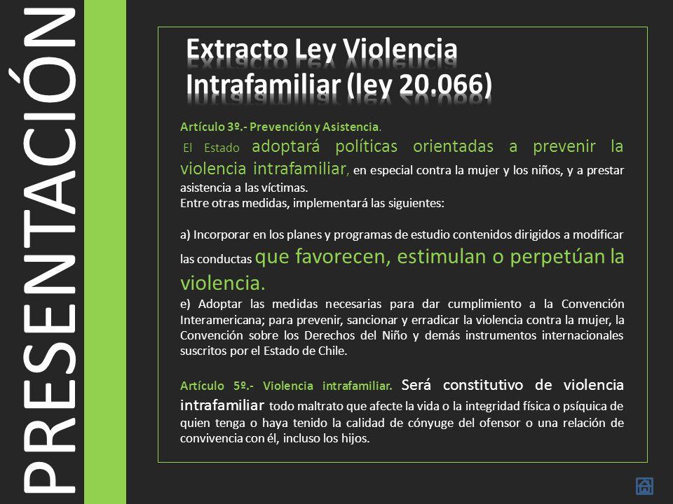 PRESENTACIÓN Extracto Ley Violencia Intrafamiliar (ley 20.066)