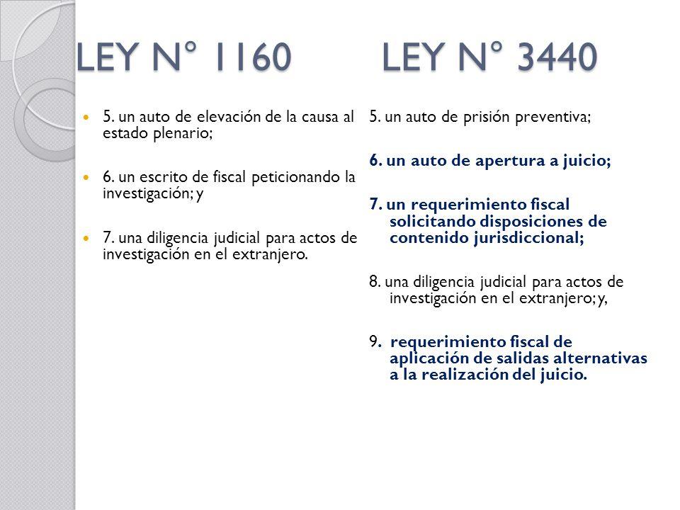 LEY N° 1160 LEY N° 3440 5. un auto de elevación de la causa al estado plenario; 6. un escrito de fiscal peticionando la investigación; y.