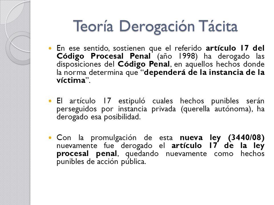 Teoría Derogación Tácita